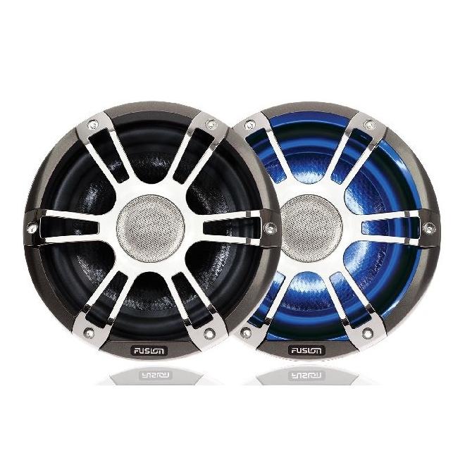 "Pair of Marine 8.8"" Sport Chrome Signature Speaker 330 Watts with LEDs"