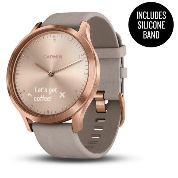 vívomove® HR Premium, Or-Rose avec Bracelet en Suede Gris avec Matériel Or-Rose