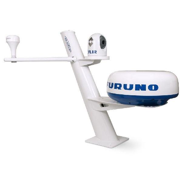 """Mât conique 30"""" montage radar dôme fermé, inclination arrière, épandeurs amovibles, p 10x10 +camera"""